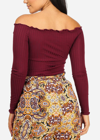 Stylish Wine Stripe Crop Top