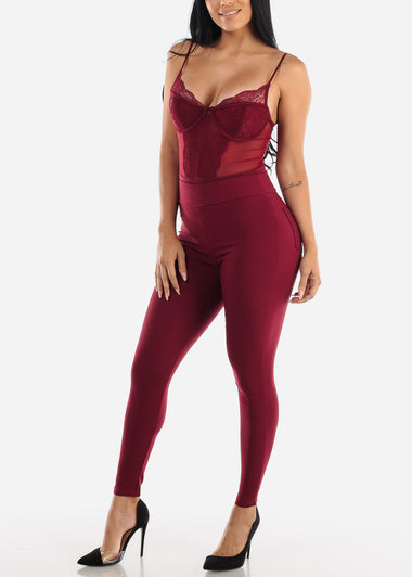 Sexy Burgundy Lace Bodysuit