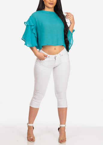 Image of Women's Junior Summer Vacation Beach Brunch Light Weight See Through Ruffled Sleeves Turquois Crop Top