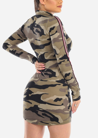 Image of Sexy Zip Up Camouflage Mini Dress