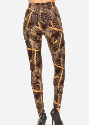 Image of Activewear Black & Brown Printed Leggings
