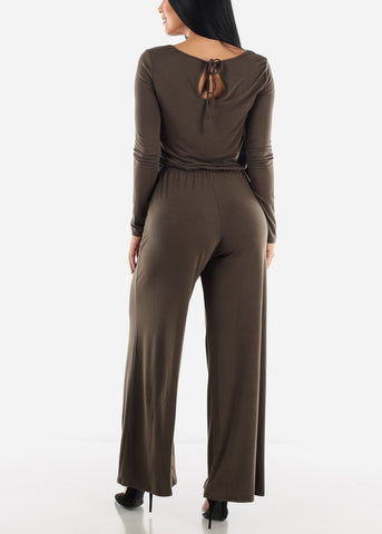 Image of Solid Long Sleeve Jumpsuit