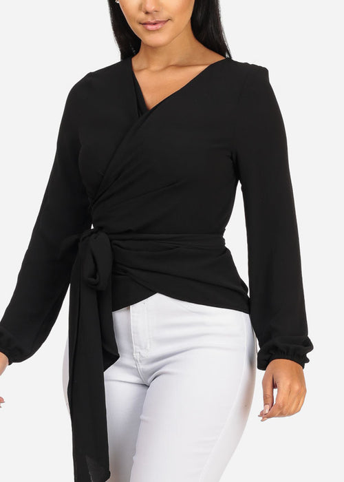 Divine Long Sleeve Wrap Front Solid Black Lightweight Top