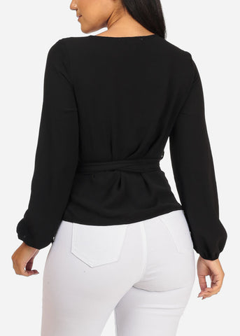 Image of Divine Long Sleeve Wrap Front Solid Black Lightweight Top