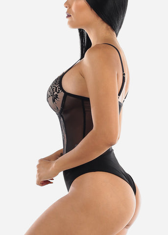 Image of Sexy Floral Mesh Black Bodysuit