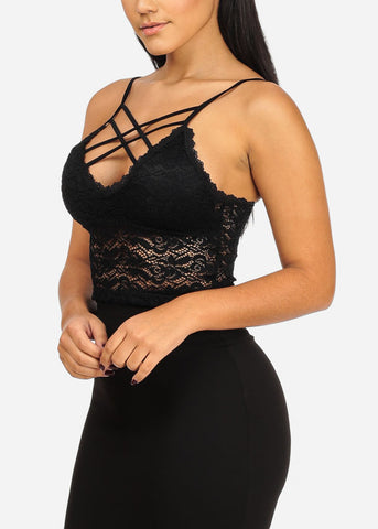 Image of Sexy Floral Lace Black Bralette