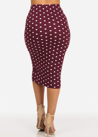 Slim Fit Burgundy Polka Dot Skirt