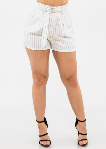 Image of White Stripe Top & Shorts (2 PCE SET)