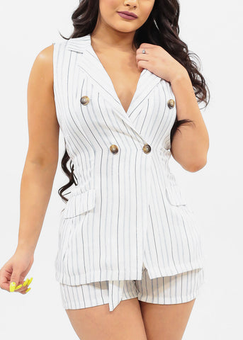 Women's Junior Ladies Sexy Summer Going Out Sleeveless Vest Style Button Detail Top And High Rise Lightweight Stripe Shorts With Belt