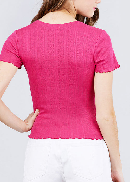 Short Sleeve Pointelle Knit Pink Top