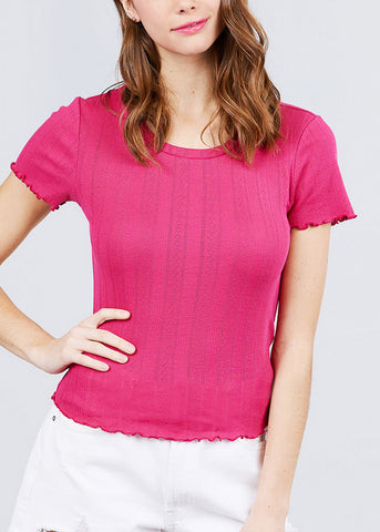 Image of Short Sleeve Pointelle Knit Pink Top