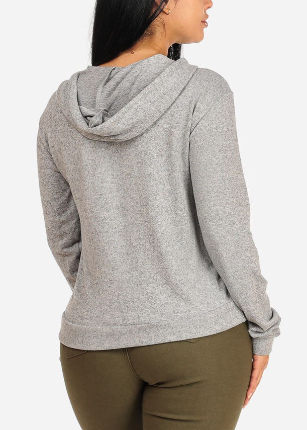 High Neck Light Grey Sweater with hood
