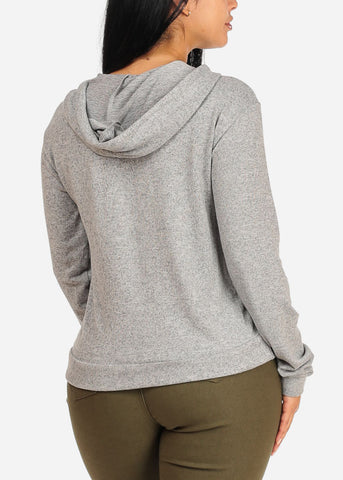 Image of Cozy Long Sleeve High Neck Light Grey Sweater Top W Hood