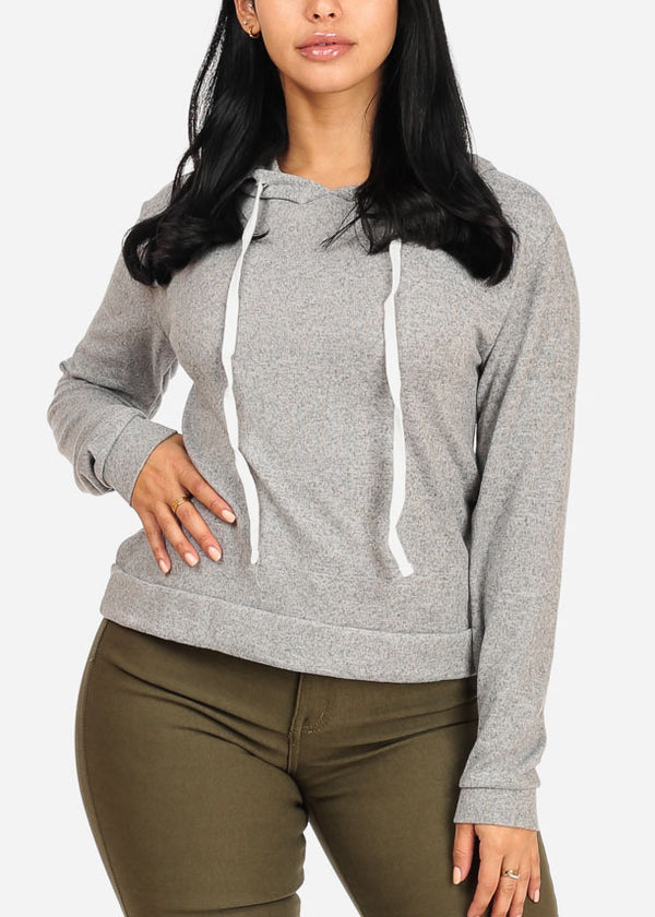 Cozy Long Sleeve High Neck Light Grey Sweater Top W Hood