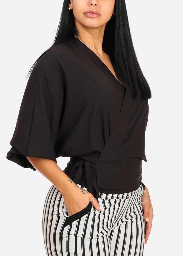 Stylish Wrap Front Black Blouse