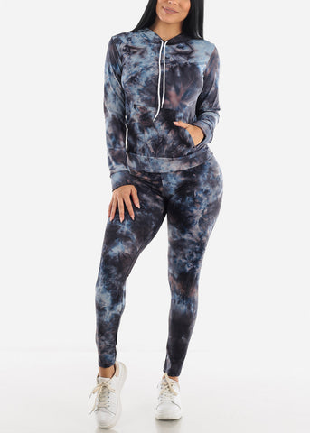 Blue Crystal Tie-dyeJogger Set