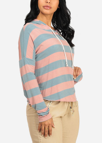 Cute Blue And Mauve Sweater Top