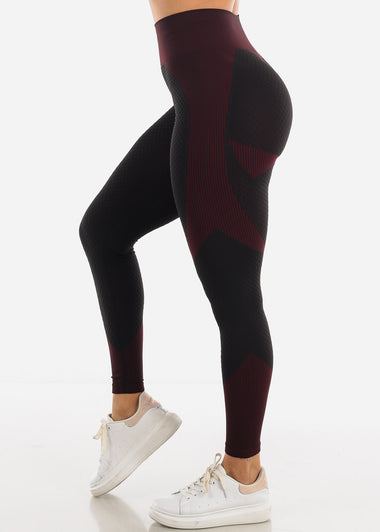 Activewear Burgundy Stripe Leggings