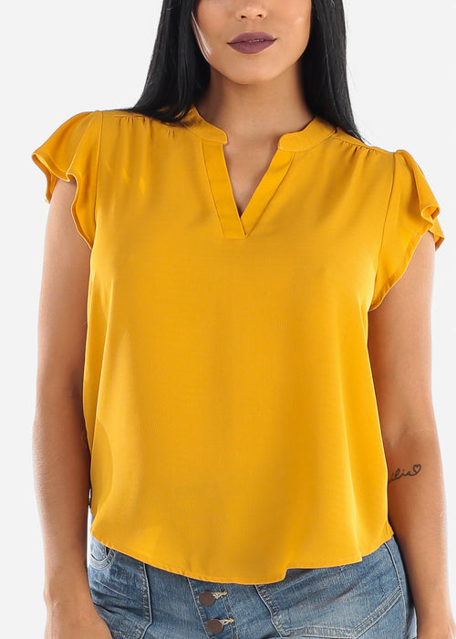 Lightweight Short Sleeve Mustard Blouse