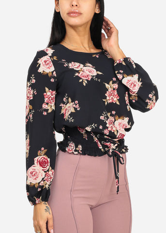 Image of Navy Floral Print Blouse