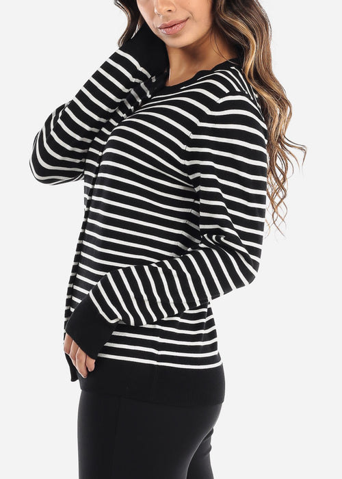 Black Striped Button Down Cardigan