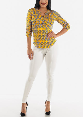 Image of Mustard Printed Top