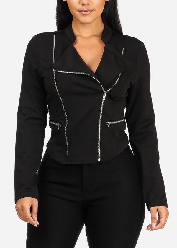 Trendy Long Sleeve Front Silver Zip Up Black Jacket