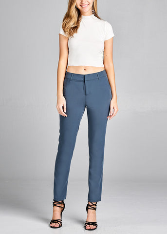 Charcoal Straight Leg  Dress Pants