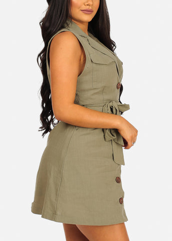 Image of Sexy Sleeveless Button Up Lightweight Olive Coat Dress
