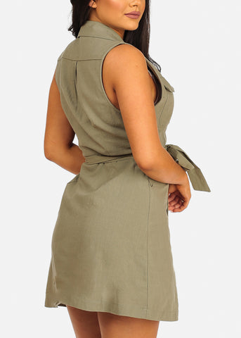 Sexy Sleeveless Button Up Lightweight Olive Coat Dress