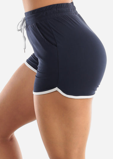 Navy High Rise Dolphin Shorts