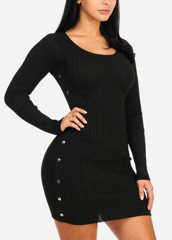 Image of Black Silver Button Knitted Dress