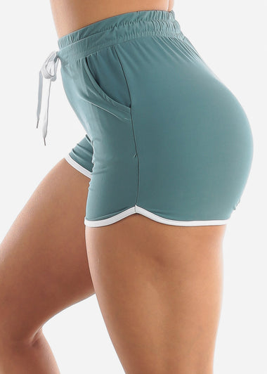 Teal High Rise Dolphin Shorts