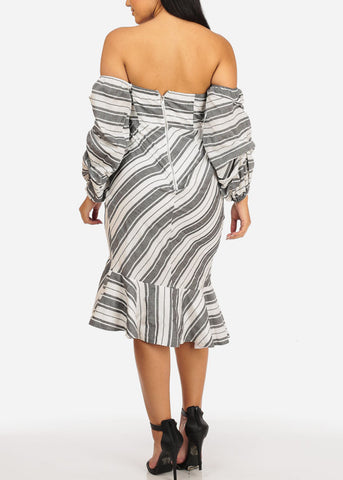 Image of Off Shoulder Ruffle Grey Stripe Dress