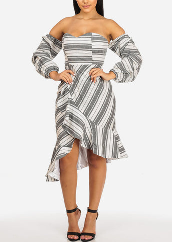 Off Shoulder Ruffle Grey Stripe Dress