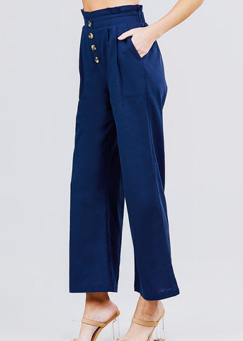 Image of Wide Legged Navy Linen Pants