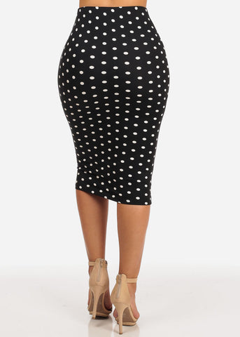 Slim Fit Black Polka Dot Skirt