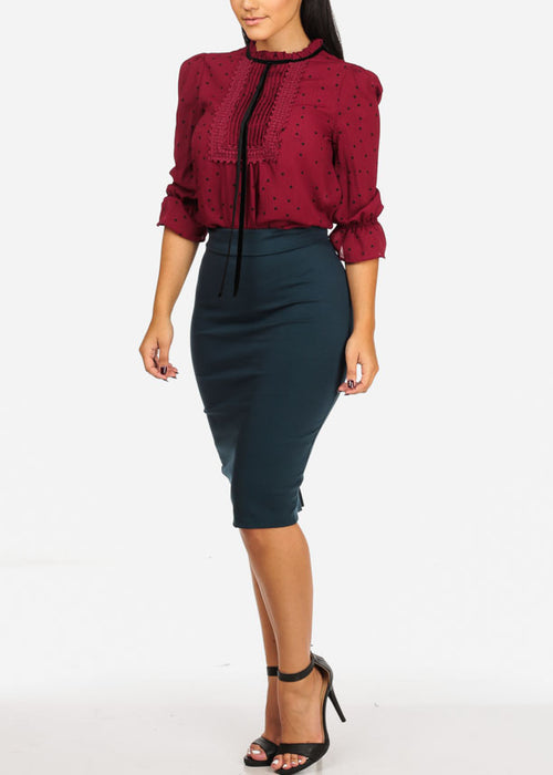 High Rise Teal Slim Fit Pencil Skirt