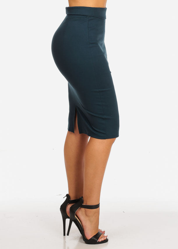 bf49b0a5ca High Rise Teal Slim Fit Pencil Skirt