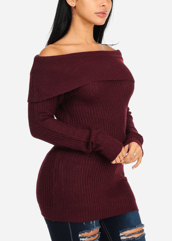 Image of Cozy Off Shoulder Burgundy Knitted Sweater