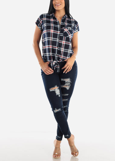 Plaid Short Sleeve Tie Front Top