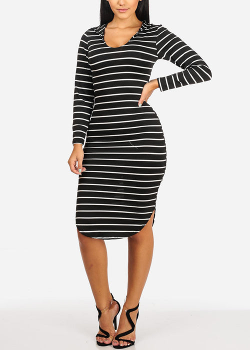 Casual Black Stripe Bodycon Dress