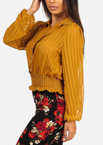 Long Sleeve Elastic Hem Button Up Mustard Blouse Top
