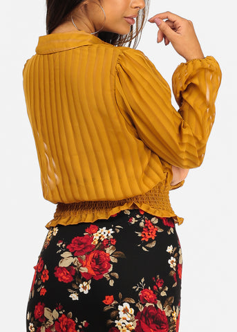See Through Stripe Mustard Top