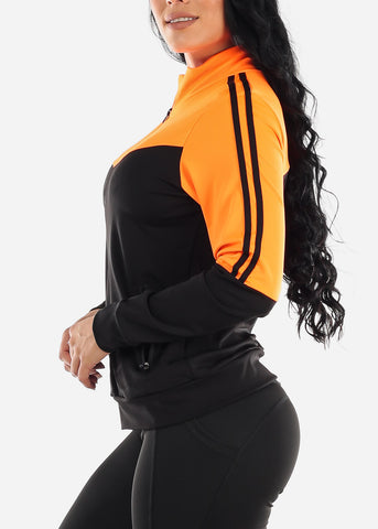 Image of Activewear Colorblock Neon Orange Jacket