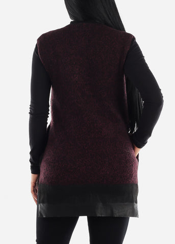 Image of Burgundy Knit Sleeveless Tunic