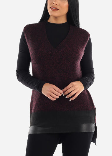 Burgundy Knit Sleeveless Tunic