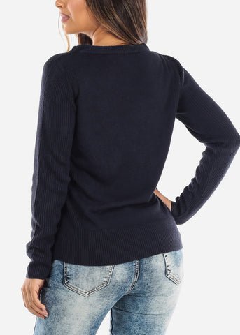 Navy Ribbed Sweater 414BNVY