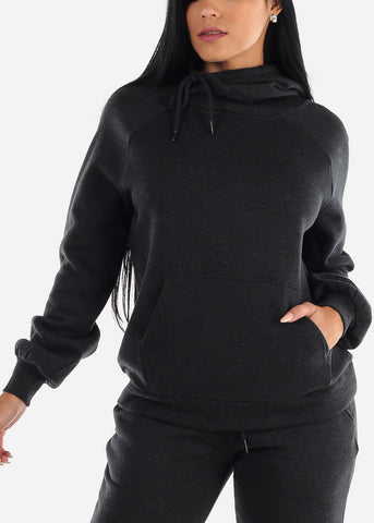 Charcoal Oversized Fleece Hoodie Sweatshirt