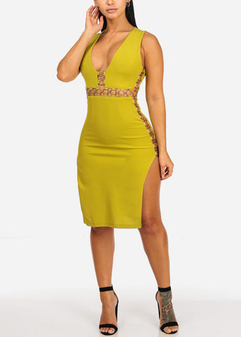 Image of Lime Green Side Slit Gold Rings Dress